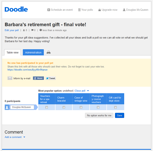 Free voting software with Doodle.com
