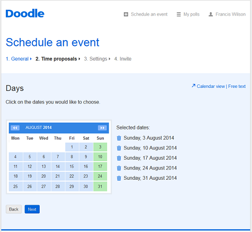 Web calendar sync with Doodle's premium account