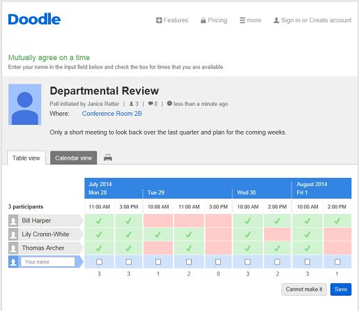 the doodle web scheduler