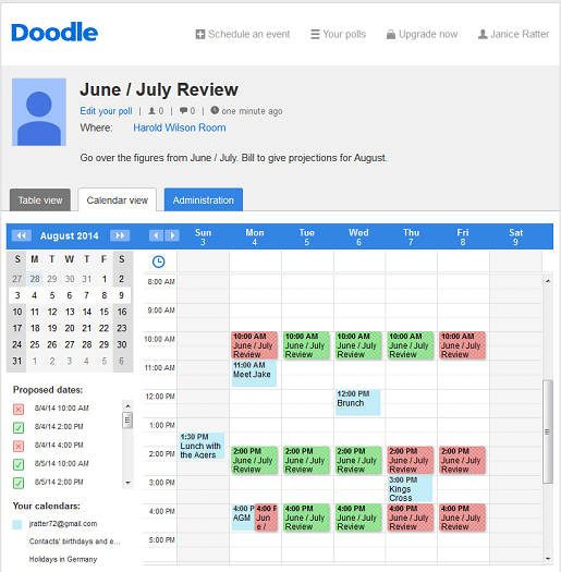 Select when you are avaiable through your calendar