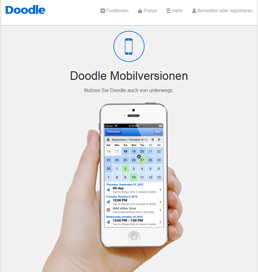 mobile Version der Doodle Seite