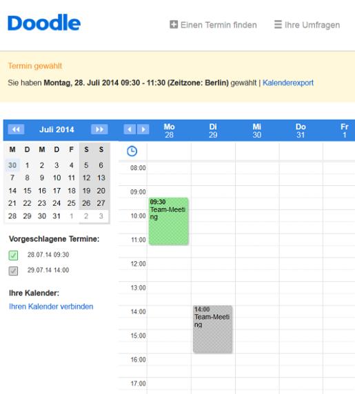Online Terminkalender Ansicht
