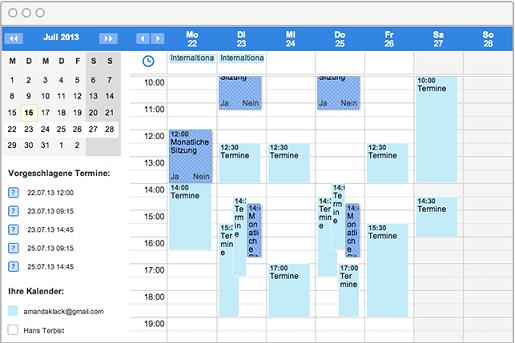 Termin-Umfragen in der Kalenderansicht auf einen Blick