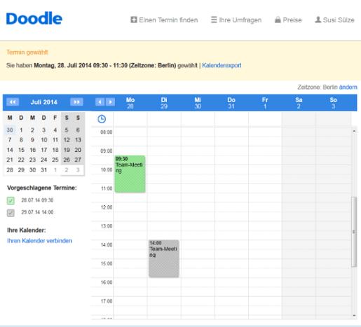 Terminanfragen in der Kalenderansicht bestätigen