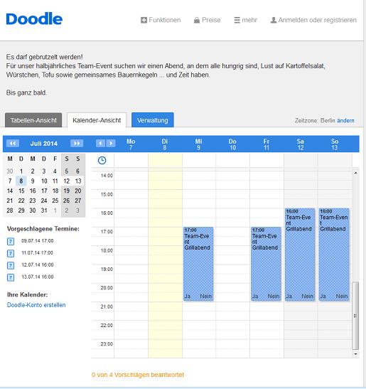 Legen Sie die Terminoptionen im Kalender an