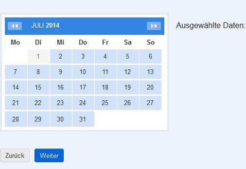 Im Kalender passende Termine auswählen
