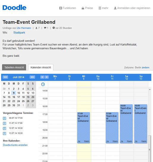 Die Kalender-Ansicht für die Teilnehmer