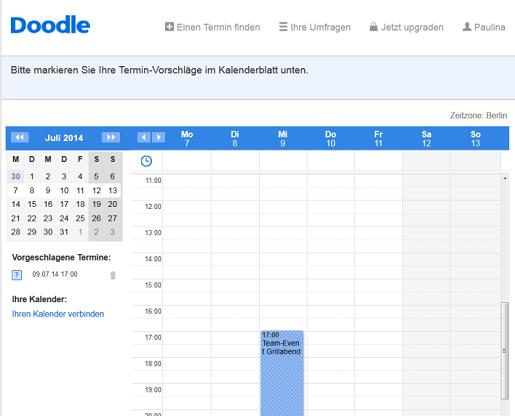 Passende Termine über die Kalenderansicht aussuchen