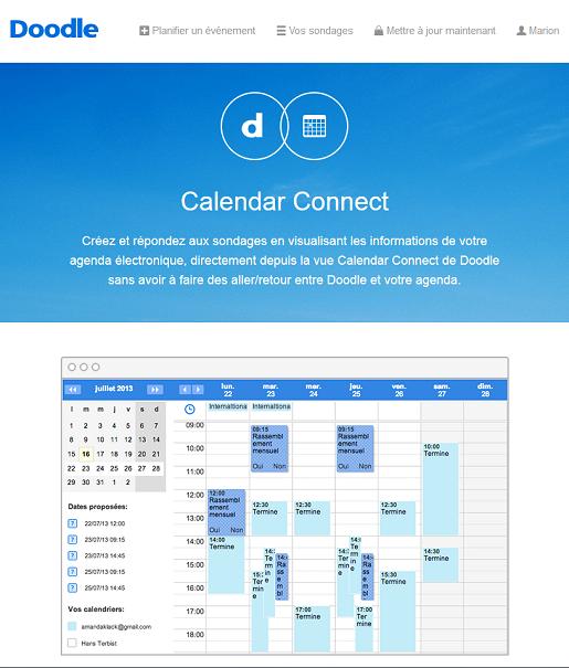 Retrouvez votre calendrier Doodle synchronisé