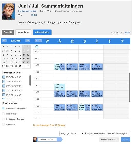 """Gratis arbetsschema på Doodle.com, men kalenderöversikten är endast tillgänglig med Premiumkontot."""" /> </p> <p>De mörkblå luckorna är föreslagna tider och de ljusblå luckorna är Jannes förbokade planer. Genom att flytta musen över varje tidsförslag kan han antingen klicka """"ja"""" eller """"nej"""" och luckan kommer då antingen bli grön eller röd. </p> <p><img src="""