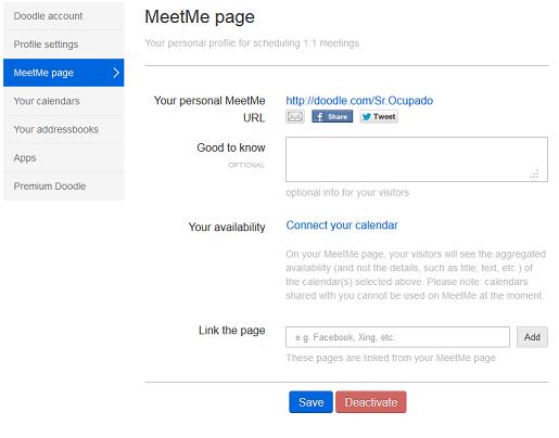 Defina sua página MeetMe