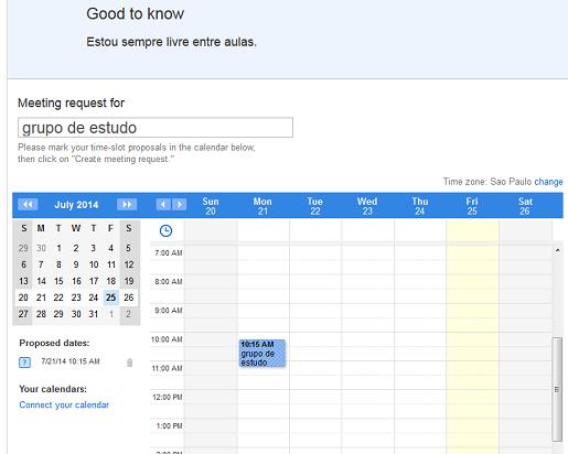Calendário de agendamento do MeetMe