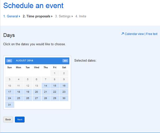 Escolha os possíveis dias para sua reunião