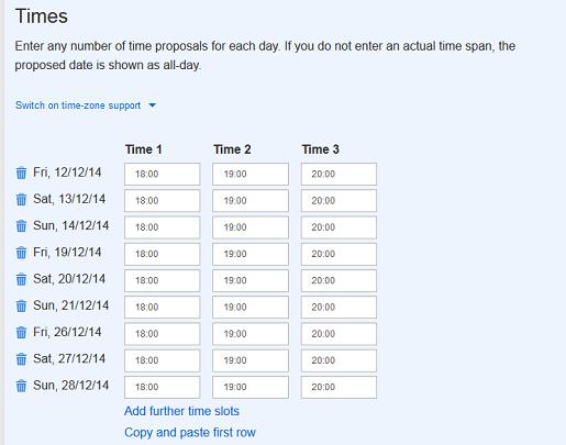 Escolha os possíveis horários para sua reunião