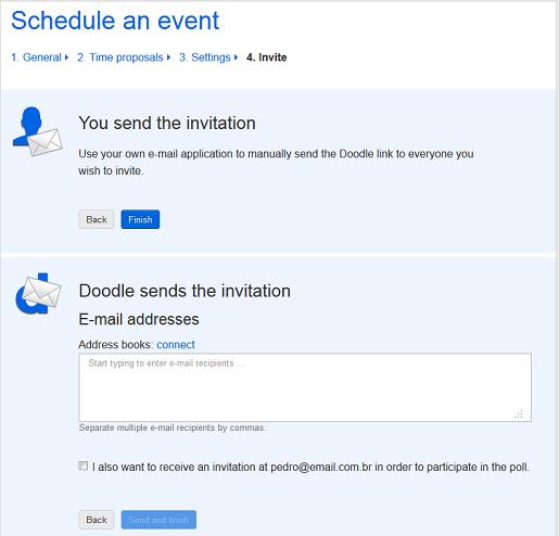 Envie os convites para sua reunião