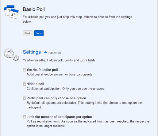 Defina opções de votos