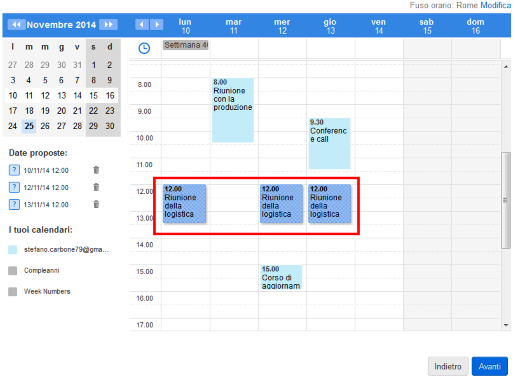 Scelta date calendario per meeting