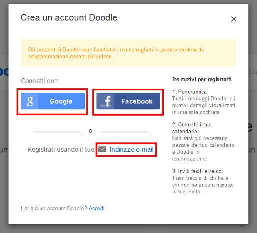 Metodi per creare un account su Doodle