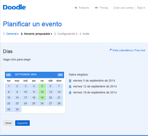 elige posibles días en el calendario