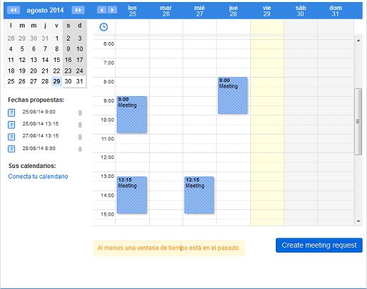 proponer meeting en un calendario