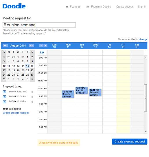 calendario con propuestas de horario software agenda