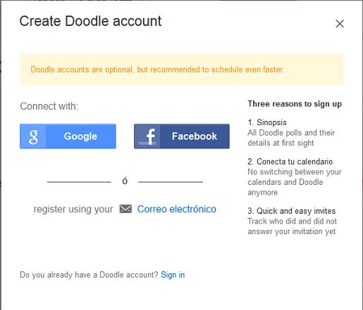 Regístrese con su email, con Facebook o Google
