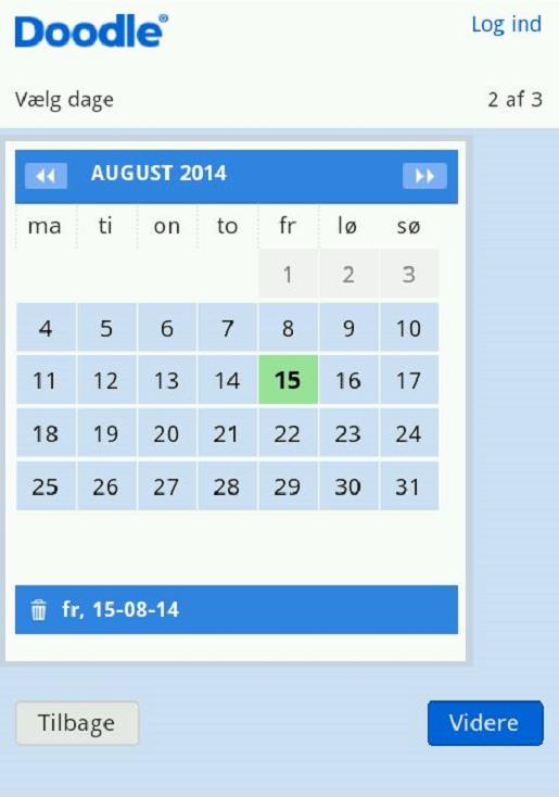 Fastsæt datoen for begivenheden