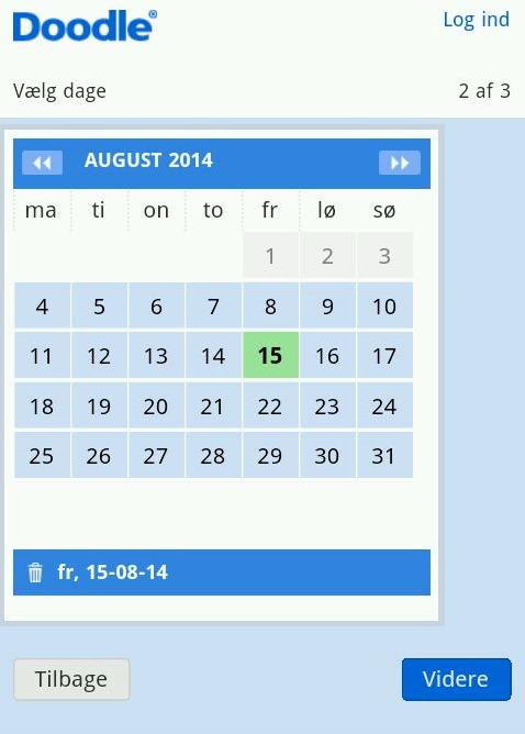 Du kan nemt fastsætte datoen for en begivenhed med Doodles kalender app