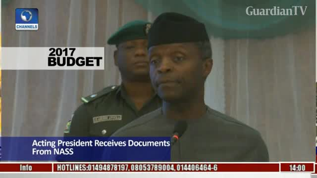 Osinbajo receives 2017 budget from NASS