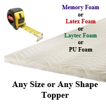 Custom size mattress toppers