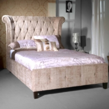 Limelight Epsilon Bed Mink Upholstery - Tall Deep Buttoned Headboard