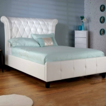 Limelight Epsilon Bed White Faux Leather - Tall Deep Buttoned Headboard
