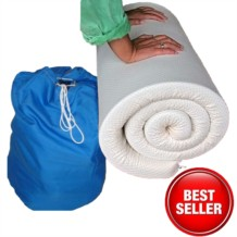 Memory Foam Travel Mattress Topper - Fabric Cover and Drawstring Holdall