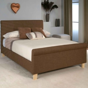 Limelight Eclipse Upholstered Sleigh Bed Caramel Fabric