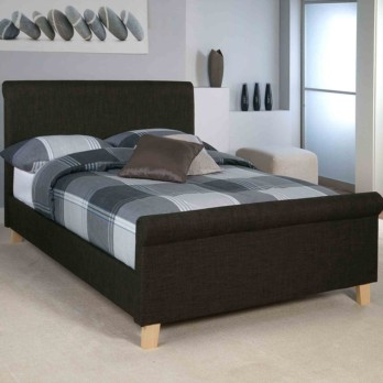 Limelight Eclipse Upholstered Sleigh Bed Charcoal Fabric