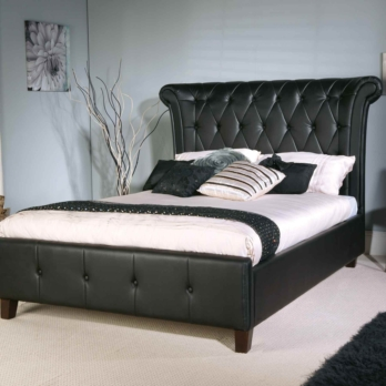 Limelight Epsilon Black Faux Leather  Bed- Tall Deep Buttoned Headboard
