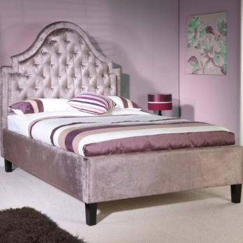 Limelight Charon Bed With Mauve Velvet Upholstery