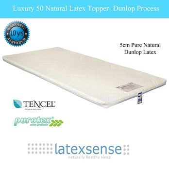 Latex Sense Luxury 50 Natural Latex Mattress Topper - Dunlop Process