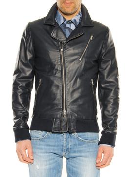 Leather jacket Daniele Alessandrini dark blue