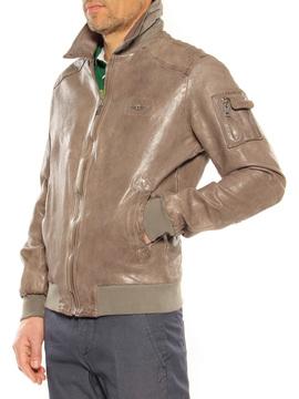 Leather jacket Aeronautica Militare brown