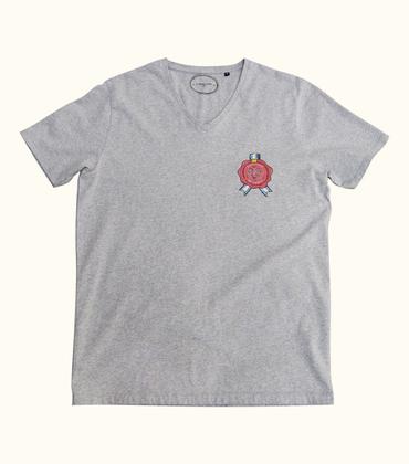 Tee-shirt V-neck Cachet - Marl grey