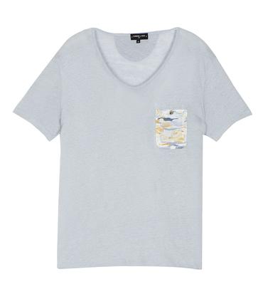Tee-shirt V-neck Aimée - Pearl blue