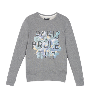 Sweatshirt Parisbruletil - Gris chiné