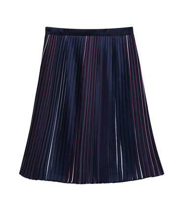 WOMEN TRICOLOURED PLEATED SKIRT MAESTRO - Navy