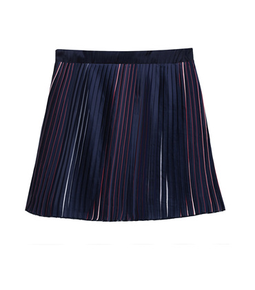 TRICOLOURED PLEATED SKIRT MAESTRO - Navy