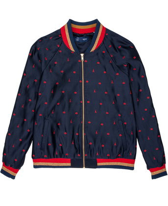 EMBROIDERED TEDDY JACKET FRENCH KISS - Navy