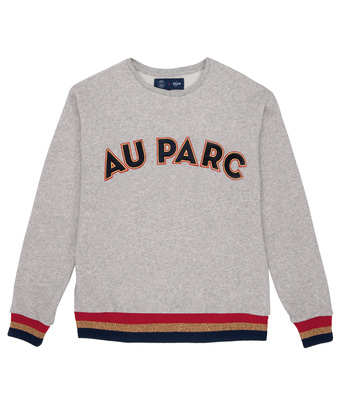 SWEATER WITH YOKE & EMBROIDERY AU PARC - Heather grey