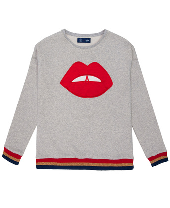 SWEATER WITH YOKE & EMBROIDERY FRENCH KISS - Heather grey