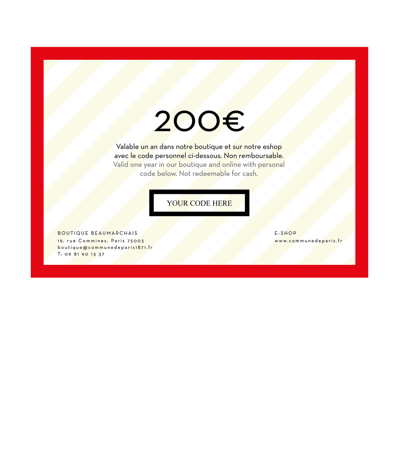 GIFT CARD - Red card 200€