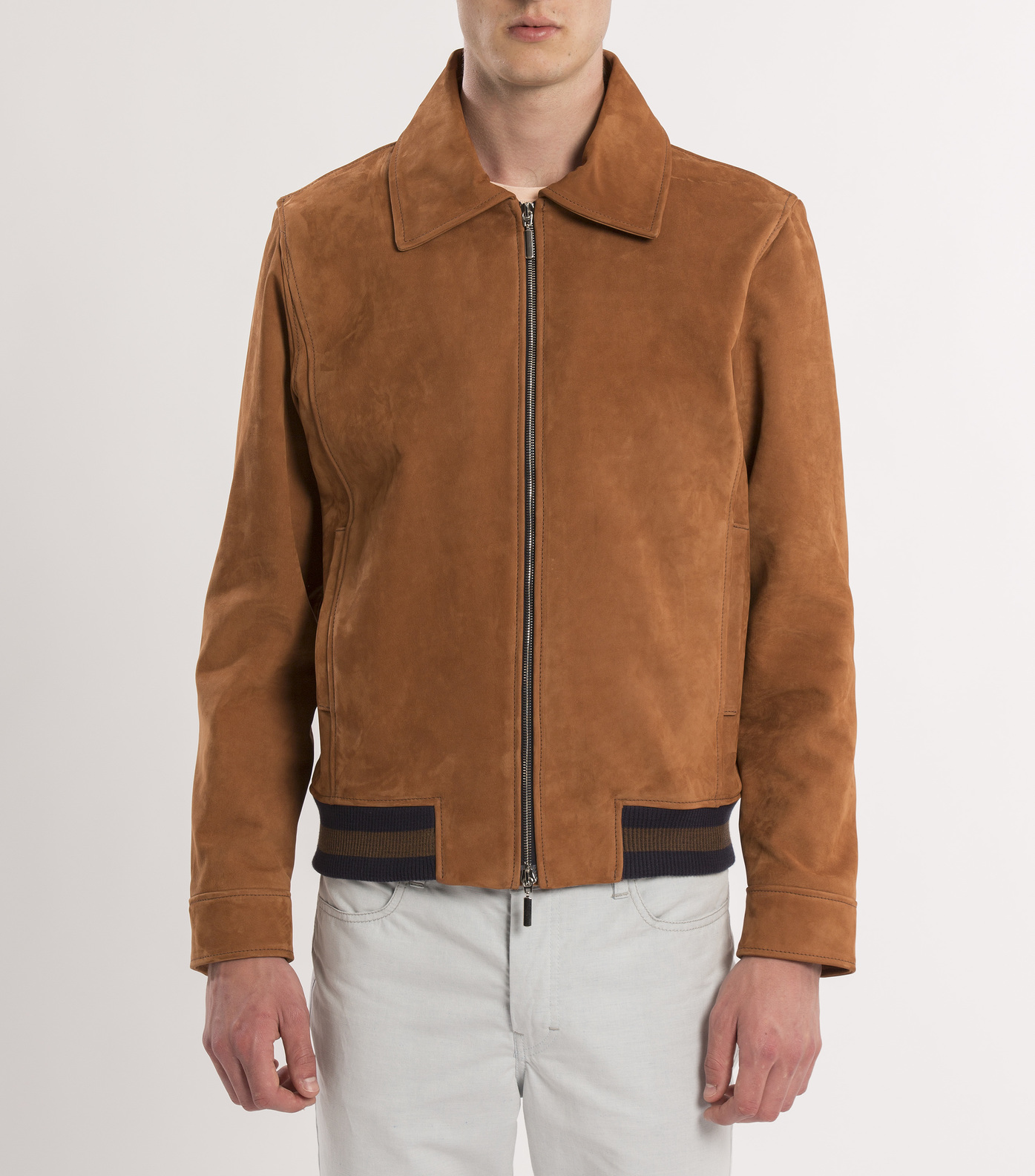 LEATHER JACKET BELISAIRE - Camel suede